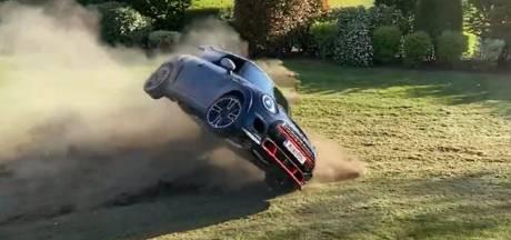 Youtuber crasht met nieuwe auto in zijn eigen achtertuin