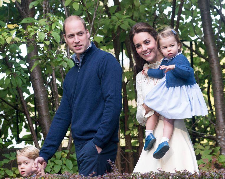 Prins William, hertogin Catherine en hun kinderen Charlotte en George in Canada. (Archieffoto 29 september). Beeld EPA