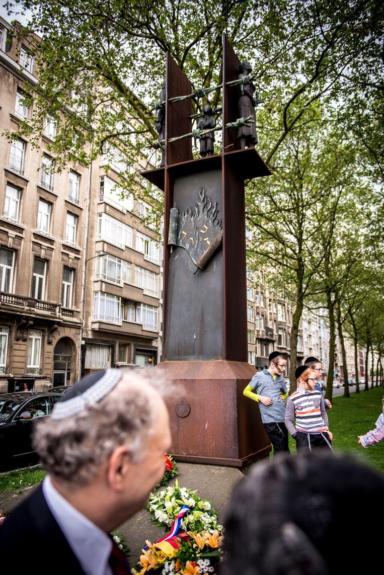 Het monument voor de Gedeporteerde Joodse bevolking op de Belgiëlei. Beeld Kioni Papadopoulos
