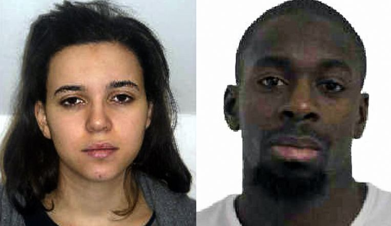 Hayat Boumedienne (26/6/1988) (links) en Amedy Coulibaly (27/2/1982). Beeld AFP