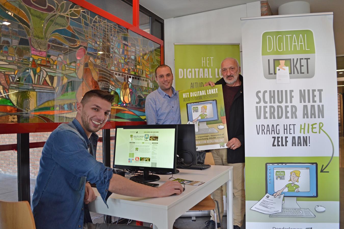 Het Digitaal Loket aan het nieuwe doe-het-zelf-loket in de onthaalruimte van het administratief centrum.