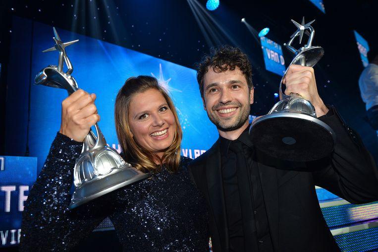 Actrice Nathalie Meskens en Thomas Vanderveken. Beeld BELGA