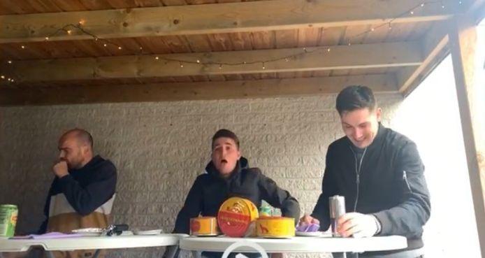 Sam Hoondert, Twan Hillebrand en Damien Donkersteeg (vlnr) tijdens de challenge.