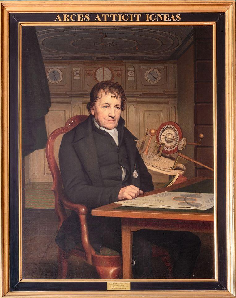 Portret van Eise Eisinga door Willem Bartel van der Kooi, 1827. Beeld