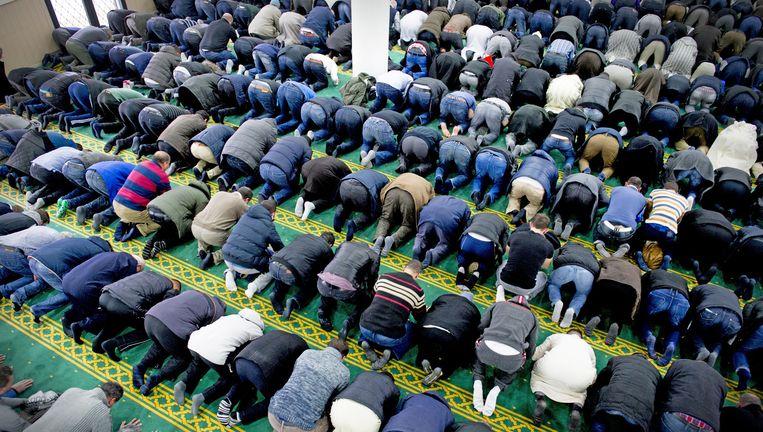 Mannen bidden in een moskee. Beeld Nederlandse Freelancers