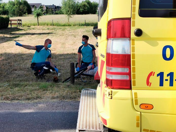 De fietsster schrok zodanig van het bestelbusje dat ze tegen een paaltje aan de Meentdijk botste.