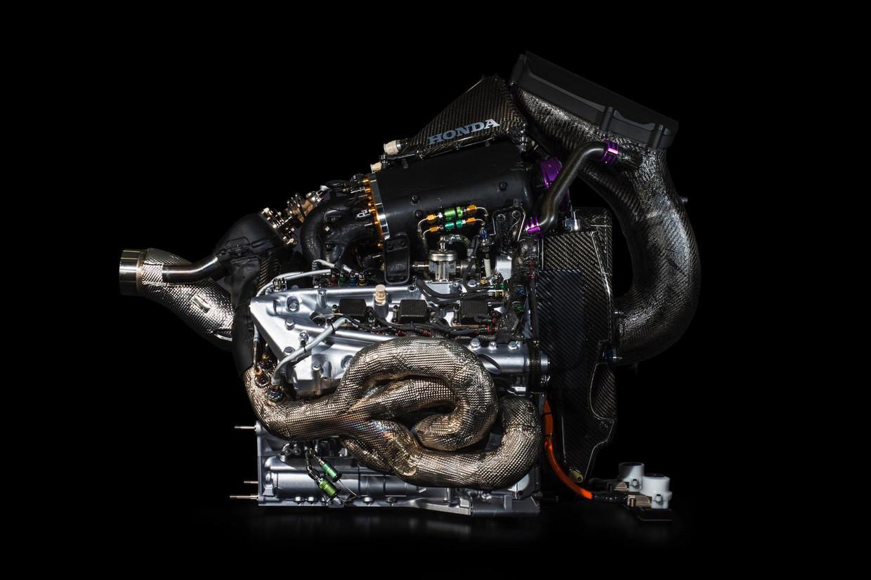 De nieuwe Honda motor waarmee Max Verstappen zal strijden om het wereldkampioenschap. Beeld Honda