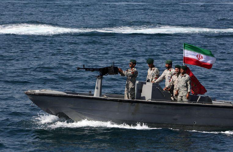 Iraanse soldaten in de Perzische Golf. Archiefbeeld. Beeld AFP