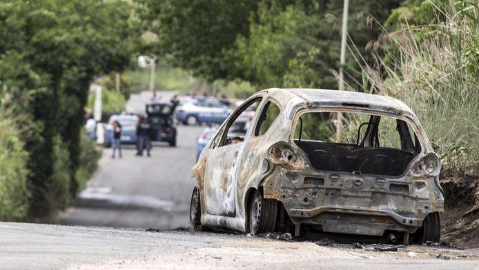 Het wrak van de auto van slachtoffer Sara Die Pietrantonio.