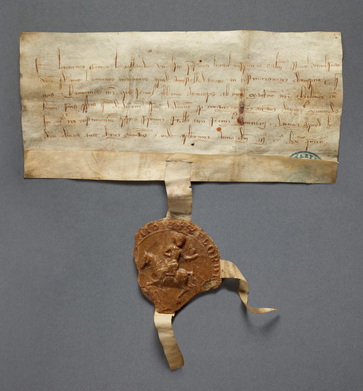 Het tolprivilege uit 1275, afgegeven door graaf Floris V. Beeld Stadsarchief Amsterdam
