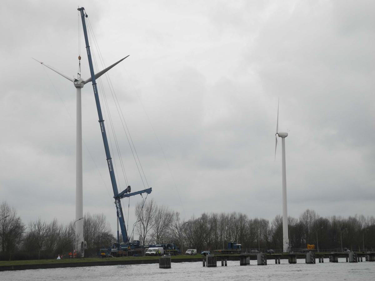 De afbraak van een windturbine.