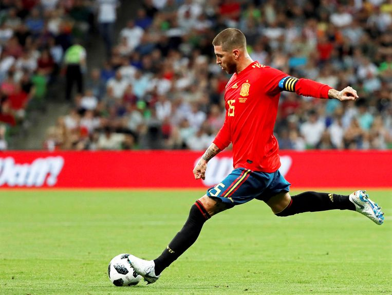 Spanje-aanvoerder Sergio Ramos. Beeld EPA.