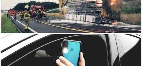 Voor bijna 40.000 euro aan boetes uitgedeeld wegens filmen brandende vrachtwagen A50