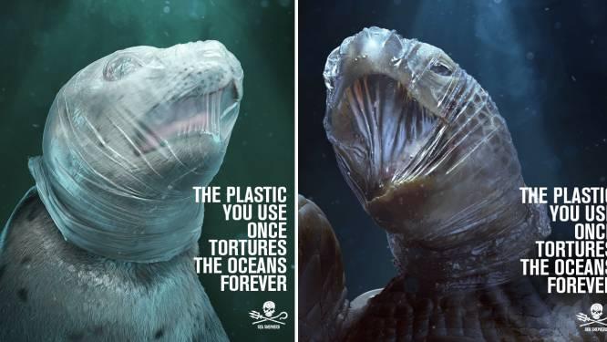 Schokkende campagne met stikkende zeedieren wijst op gevaar van plastic in oceanen