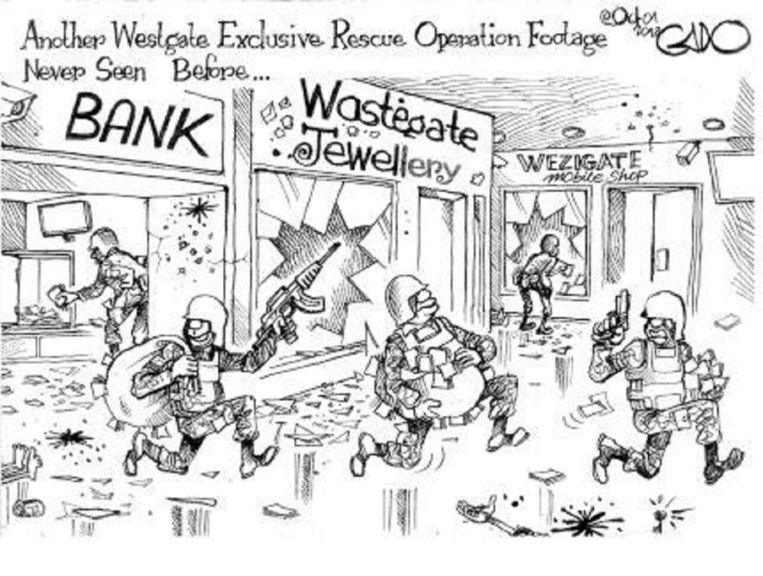 Cartoon van Gado in de Keniaanse krant de Daily Nation. Beeld Daily Nation