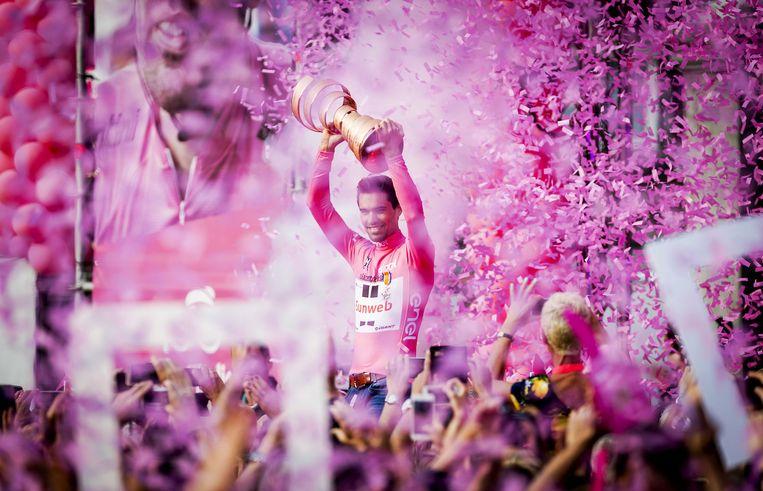 De huldiging van Tom Dumoulin in Maastricht, nadat hij de Giro had gewonnen. Beeld EPA