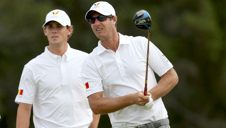 Thomas Pieters (l) en Nicolas Colsaerts (r) staan op een gedeelde tiende plaats na de eerste dag in de World Cup of Golf (€ 7.545.750), die wordt betwist op de Kingston Heath golfbaan in het Australische Melbourne. Beeld REUTERS