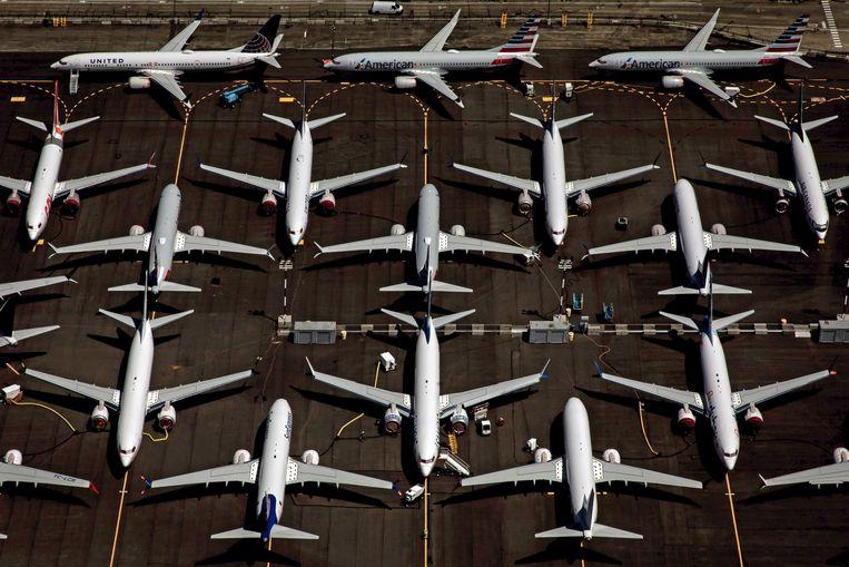 Terwijl de 737 Max na twee dodelijke ongelukken niet meer mocht vliegen, werd gewoon doorgegaan met de productie. Beeld EPA