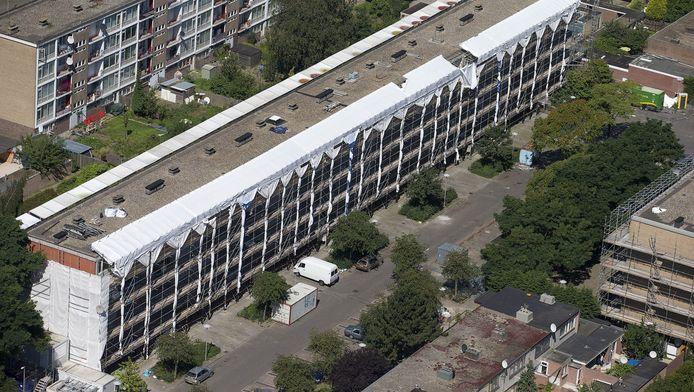 Luchtfoto van de Utrechtse woonwijk Kanaleneiland.