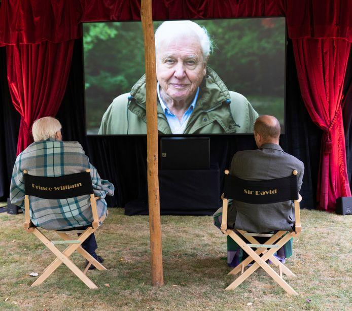 Prins William en David Attenborough bekijken de nieuwe docu. Voor de grap zitten ze in elkaars stoel.