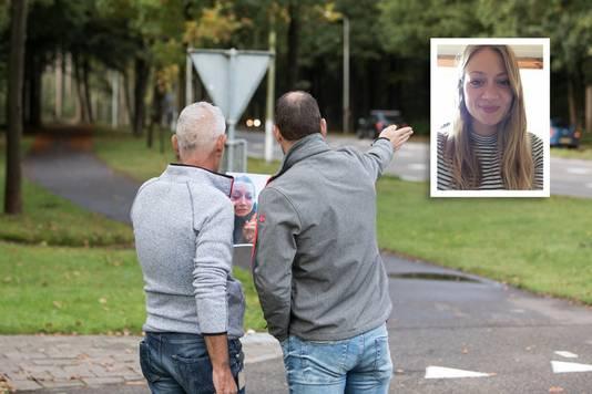 Rechercheurs op de plek waar Anne Faber vermoedelijk haar laatste selfie maakte voordat ze verdween.