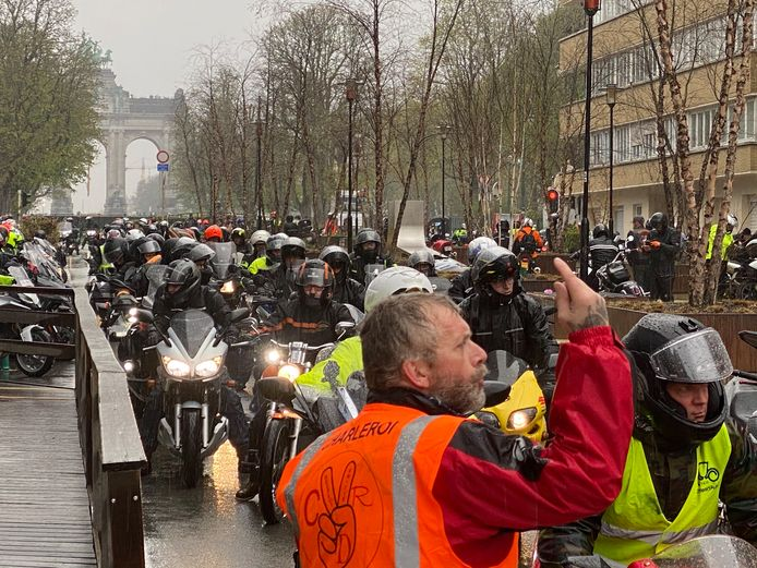 Moto's protesteren in Brussel