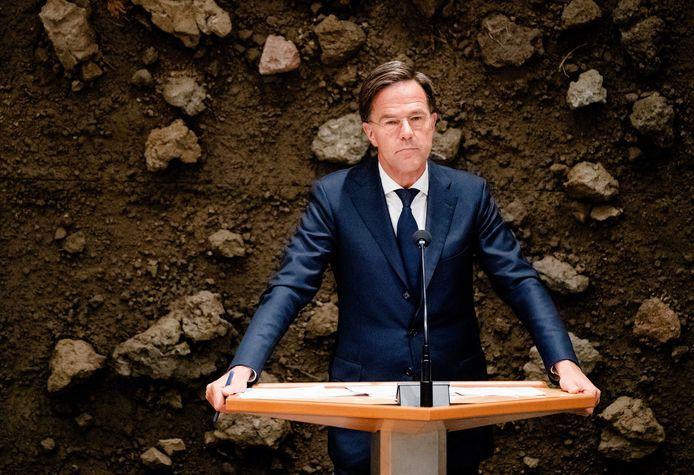 Mark Rutte (VVD) tijdens het debat over het eindverslag van informateur Mariette Hamer over het vastgelopen formatieproces.