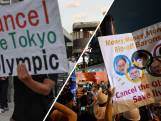 Protest buiten stadion Olympische Spelen