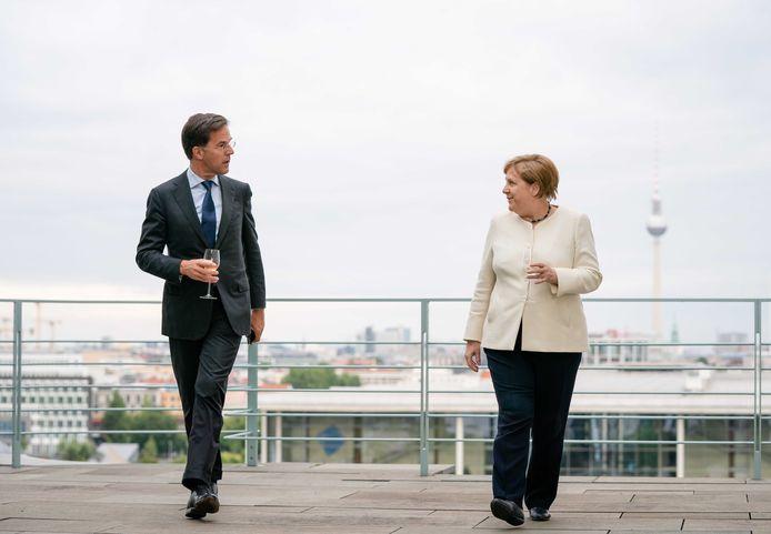 Minister-president Mark Rutte bij een bezoek aan bondskanselier Angela Merkel in het Bundeskanzleramt in Berlijn in 2020.