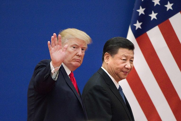 Trump samen met Xi Jinpin in november 2017 in Peking.