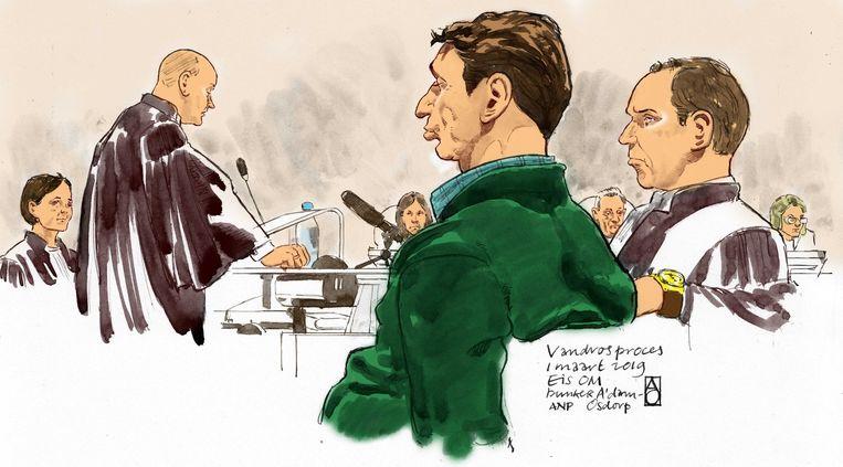 Willem Holleeder in de extra beveiligde rechtbank De Bunker in Amsterdam Osdorp. Beeld ANP