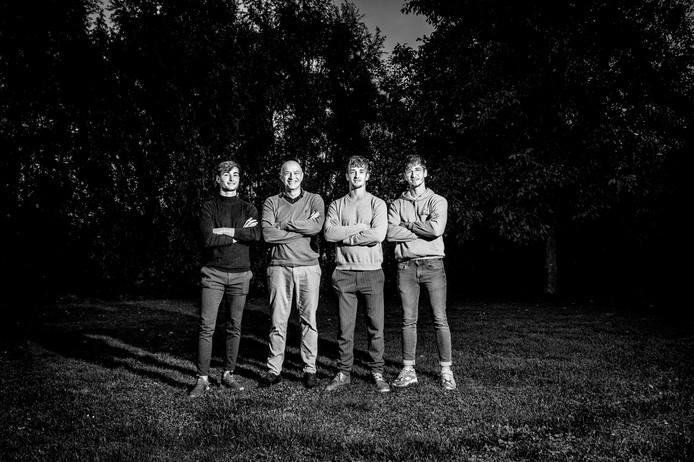 Dylan, Adrie, Jake en Luke van der Ven (vlnr).