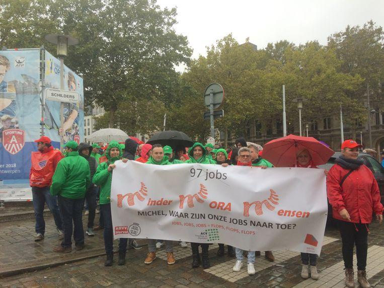 De vakbondsbetoging in Antwerpen. Beeld MLS