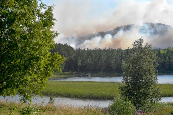 Rookwolken van een bosbrand vandaag in Enskogen bij Ljusdal.