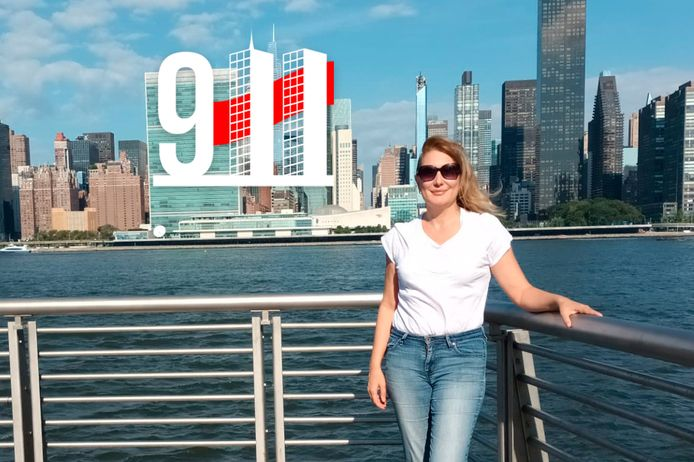 Onze reporter Nadine Van Der Linden bij de skyline van Manhattan