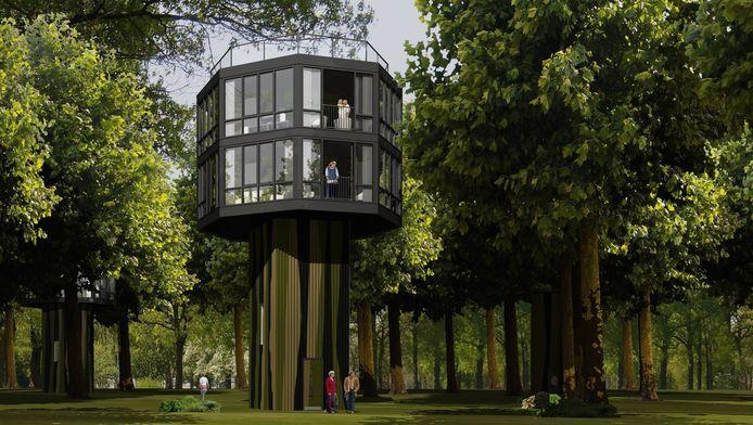 Eén van de woningen die moet komen in het Treehouse Resort.