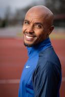 Mohamed Ali uit Cuijk op de atletiekbaan in Nijmegen.