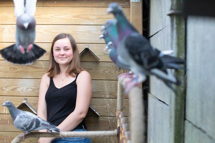 La jeune colombophile Lisa Versmissen a perdu quasi la moitié de son pigeonnier lors d'un banal entraînement
