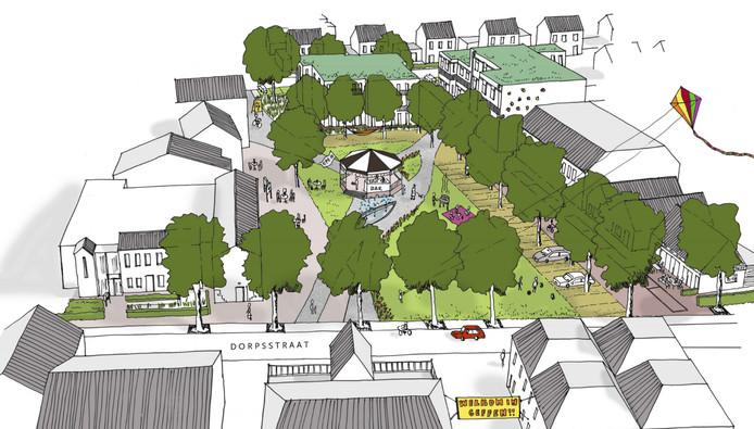 Schets van het toekomstige Dorpsplein van Geffen, met de nieuwe bebouwing op de plek van het voormalige gemeentehuis (groene daken)..