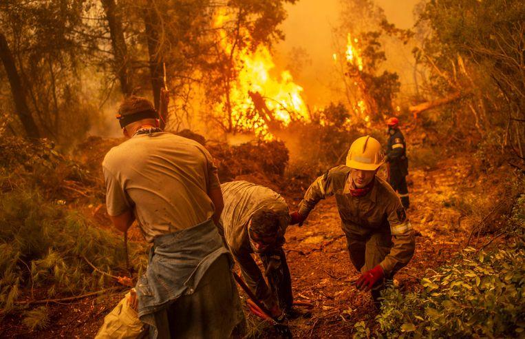 Brandweer en vrijwilligers strijden tegen het vuur dat het dorp Glatsona op het Griekse eiland Evia bedreigt. Beeld AFP