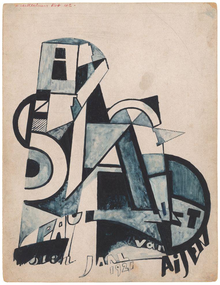 Ontwerp voor de omslag van 'Bezette stad' door Oscar Jespers, 1921. Beeld Bezette Stad 100!