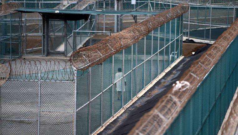 Archieffoto: Een gevangene in de gevangenis van Guantánamo Bay Beeld afp