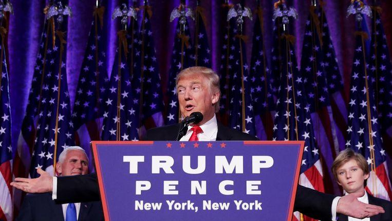 Trump tijdens zijn overwinningsspeech. Beeld anp