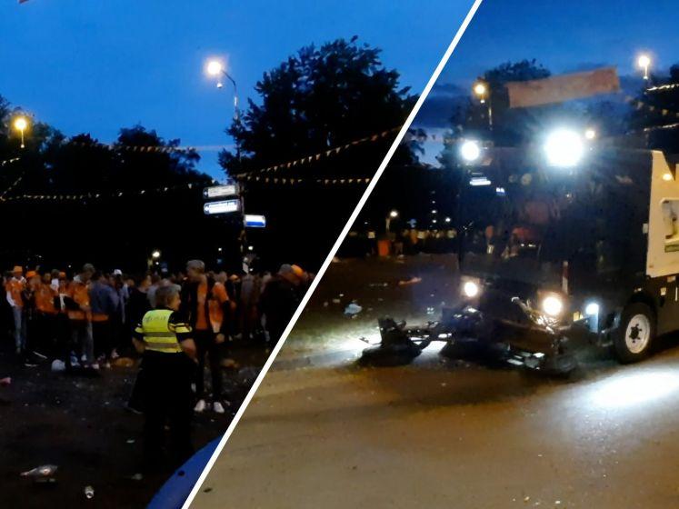 Uren na het feest begint het opruimen van de Oranjerotonde