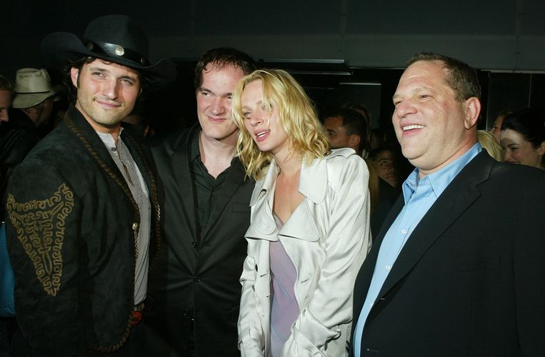 (vlnr) Robert Rodriguez, Quentin Tarantino, Uma Thurman en Harvey Weinstein Beeld AFP