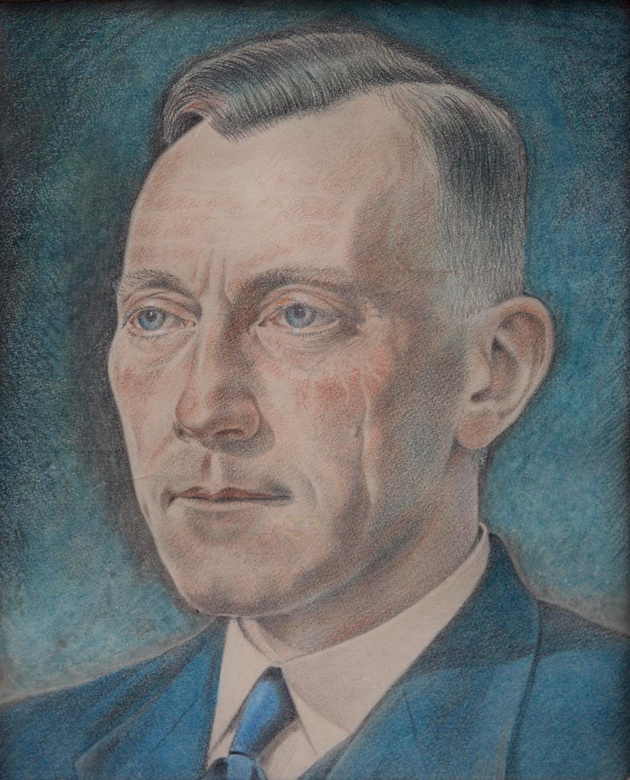 Trouw-verspreider Willem Santema, getekend door mede-gevangene Andries Gort in Kamp Haaren.