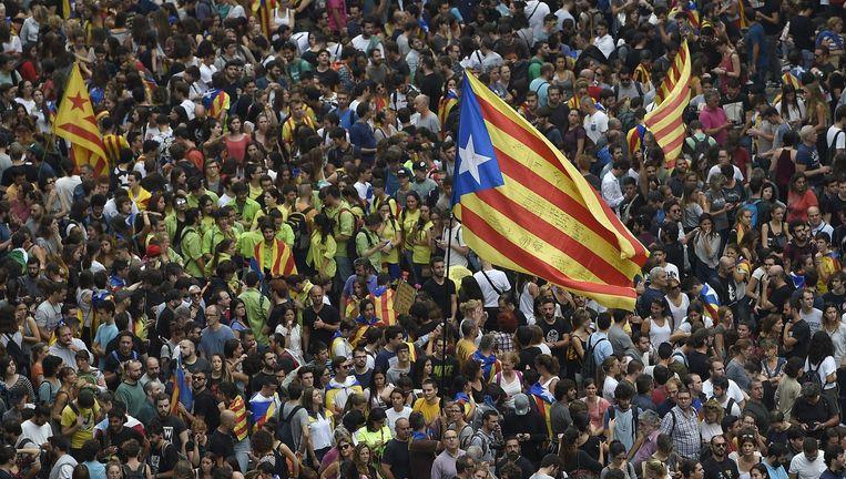 Protestanten in Barcelona. Beeld afp