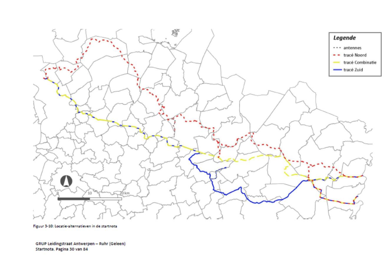 Op deze kaart zijn de drie verschillende tracés te zien.