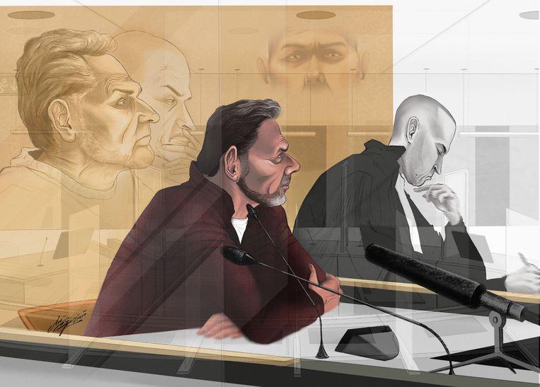 Een voorbeeld waarbij de verdachte is uitgelicht door de advocaat naast hem enkel te schetsen. Beeld Adrien Stanziani