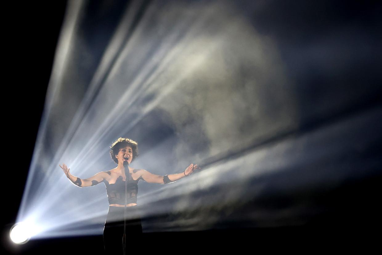 Barbara Pravi tijdens de finale van het Eurovisiesongfestival Beeld Getty Images